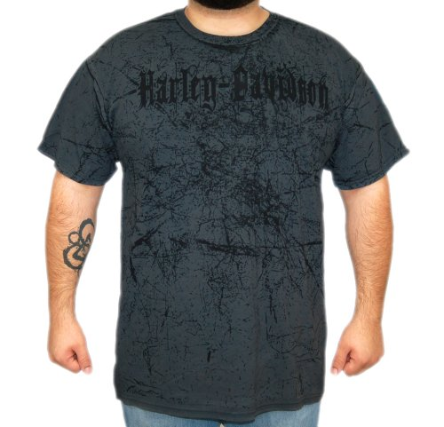Harley-Davidson Mens Worn Text Black Short Sleeve T-Shirt (Medium)