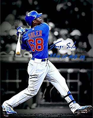 "Jorge Soler Chicago Cubs Autographed 11'' x 14'' Spotlight Photograph with ""HR In 1ST MLB AB"" Inscription - Fanatics Authentic Certified"