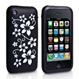 Black And White Floral Pattern Silicone Case Cover For The Apple iPhone 3 3G 3GSby Yousave Accessories