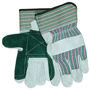 MCR Safety 1230DP Split Shoulder Leather Double Palm Ladies Gloves with Green/Pink Fabric Rubberized Safety Cuff, White, Large
