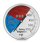 Chef's Star 2 550F BBQ Charcoal Grill Pit Wood Smoker Temperature Gauge Thermometer 2.5 STEM, 1/2 NPT STM SS RWB