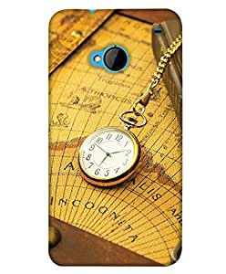 PrintHaat Designer Back Case Cover for HTC M7 :: HTC One M7 (golden vintage clock on the world map on the table tied with the chain)