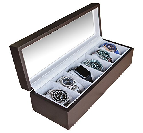 Solid Espresso Wood Watch Box Organizer with Glass Display Top by Case Elegance (Watch Box Wood compare prices)