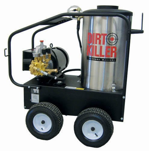Dirt Killer E3000 Hot Water Electric Industrial Pressure Washer With 50' Wire Braided Hose, 3000 Psi, 4.0 Gpm, 220V, 35A, Single Phase, 13 Hp, Steel Frame, Stainless Coil Wrap