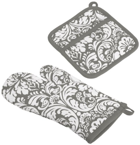 DII 100% Cotton, Machine Washable, Everyday Kitchen Basic, Damask Printed Oven Mitt and Pot Holder Gift Set, Gray (Pot Holders And Oven Mitts Sets compare prices)
