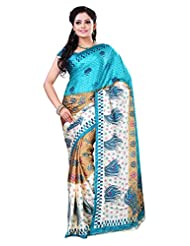 Alethia Cream & Green Crepe Daily Wear Printed Sarees With Blouse Piece - B013NAXYR4