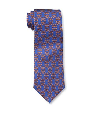 J.McLaughlin Men's Mini Cufflink Print Tie, Blue/Orange