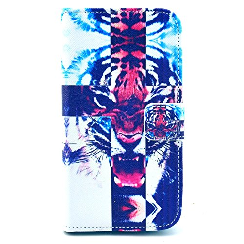 Galaxy S4 Mini Case, Firefish [Kickstand] [Cards Holder] Superb PU Leather Inner Sturdy Bumper Flexible Slim Fit TPU Magnetic Buckle Protective Cover for Samsung Galaxy S4 Mini-Tiger