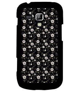 Samsung Galaxy S Duos S7562, Fuson Premium White Floral Pattern Designer Metal Printed with Hard Plastic Back Case Cover