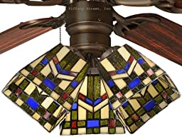 Tiffany Street 259540001 Mission Wheat Stained Glass Ceiling Fan Shade (QTY One Shade)