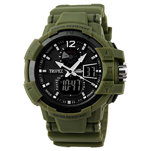Tropez Expedition Analog Digital Dual Time Sports Unisex Watch Green