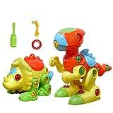 YIXIN Conjunto de 2 Dinosaurio Juguete montaje y los juguetes del tirón para los niños de 3 años+
