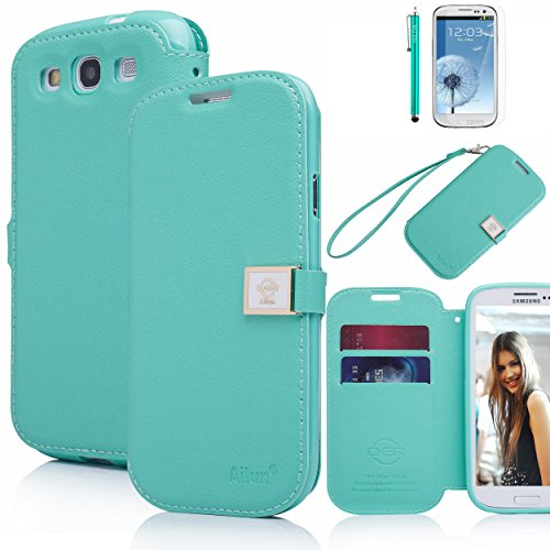 Galaxy S3 Case,By Ailun(TM),Galaxy S3 Wallet Case,Galaxy S3 Leather Case,Credit Card Holder PU Flip Cute Case Cover [Mint Green] whith Screen Protector with Styli Pen (Samsung Galaxy S3 Case Jelly compare prices)