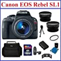 Canon EOS Rebel SL1 DSLR Camera Black with EF-S 18-55mm f/3.5-5.6 IS STM Lens Bundle: Includes 32GB SDHC Memory Card, Card Reader, Camera Bag, Telephoto & Wide Angle Lenses, Spare Battery, Mini Tripod, Memory Card Wallet. 58mm UV Protection Filter and Len