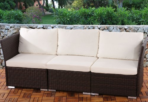 3er Sofa 3-Sitzer Siena Poly-Rattan, Gastronomie-Qualität ~ braun mit Kissen in creme