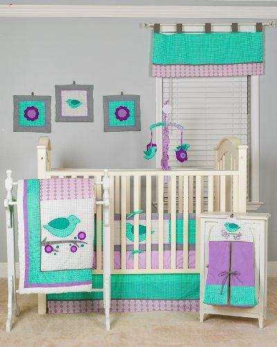 Pam Grace Creations 10 Piece Lovebirds Nursery To Go Crib Bedding Set front-828325