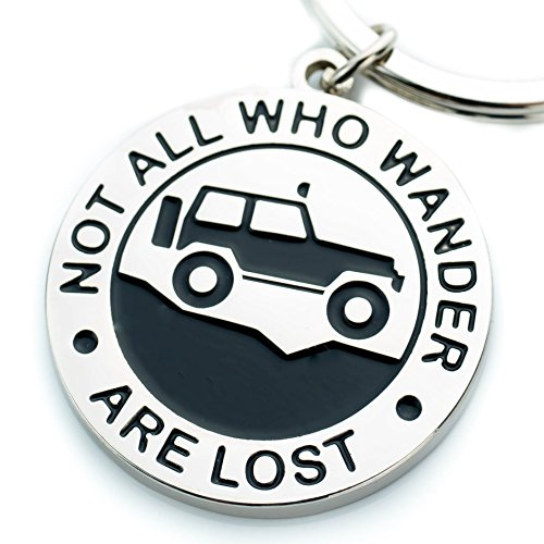Key Chain for Jeep Enthusiasts Not All Who Wander Are Lost