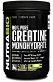 NutraBio 100% Pure Creatine Monohydrate Powder - 500 Grams - HPLC Tested, Micronized, Unflavored, No Additives or Fillers, GMP. Post Workout Muscle Building Supplement.