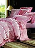 4-pc Romantic Pink Floral Silk Duvet Cover Bedding Set Full / Queen Size