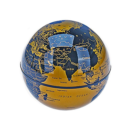 CEStore C Shape Magnetic Levitation Floating World Map Globe Rotating Mysteriously Suspended in Air with LED Lights for Learning/Teaching Demo Home Office Desk Decoration Christmas Gift (Gold) 4