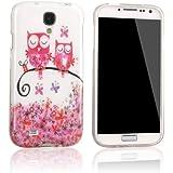 tinxi� Design Schutzh�lle f�r Samsung Galaxy S4 i9500 H�lle TPU Silikon R�ckschale Schutz H�lle Silicon Case mit zwei pink Eule Uhu Kauz Owl auf dem Ast Muster