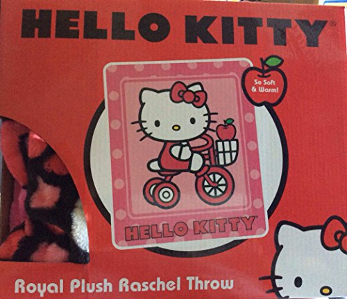 "Hello Kitty Royal Plush Raschel Baby Blanket ""Kitty Bike"""