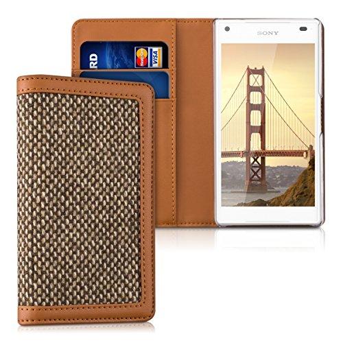 kalibri-Wallet-Case-Hlle-Donna-fr-Sony-Xperia-Z5-Compact-Cover-Flip-Tweed-Kunstleder-Tasche-mit-Kartenfach-in-Braun