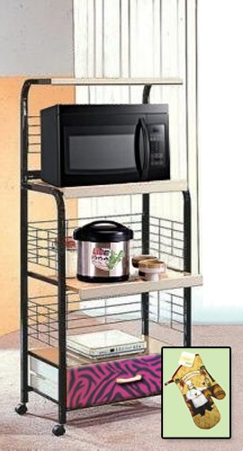 New Black Finish Rolling Microwave Cart With A Fuschia Zebra Print Theme Includes Free Oven Mitt!