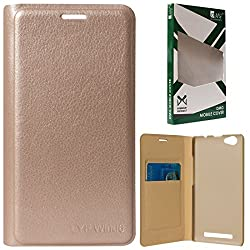 DMG Dotted Finish Premium PU Leather Flip Cover Case for Reliance LYF Wind 6 (Gold)