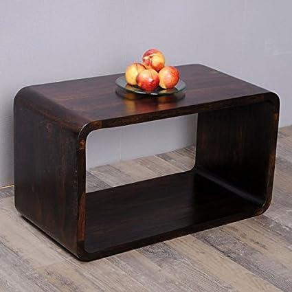 Cube LALITA Dark-Brown-A 70x40cm Akazie Massivholz Couchtisch/Beistelltisch