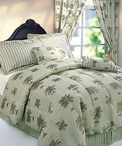 Amazon Com 7pc Palm Tree King Size Blue Jacquard
