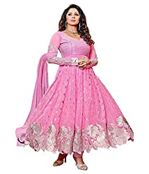 Shree Hans Creation Pink Georgette Anarkali Dress Material