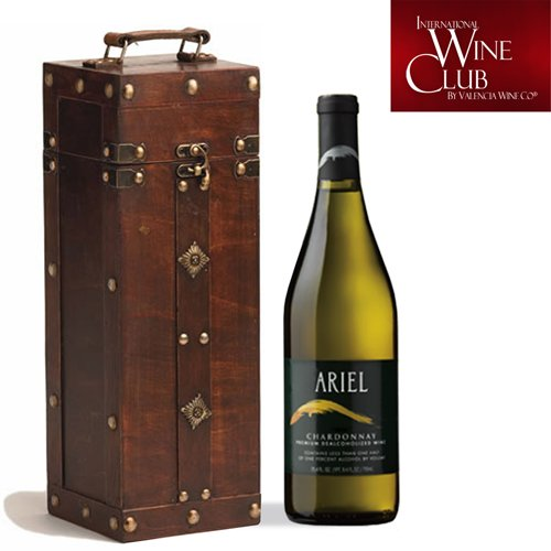 Non-Alcoholic Wine Gift - Nautical Antique Wine Box with 1-Bottle of Ariel Chardonnay - Great gift ideas for business, co-workers, family or friend. Free shipping and delivery right to your door step.