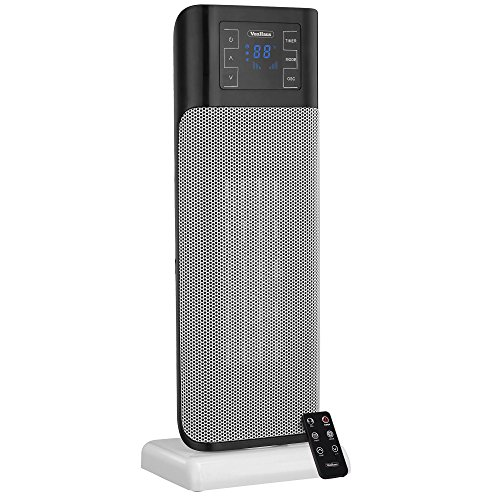 VonHaus 1500W Oscillating Ceramic Tower Fan Heater with Remote Control, Digital Screen & Timer - Modern, Portable PTC Space Heater (8.7 x 6.5 x 22.5 inches) (Rotating Fan Heater compare prices)