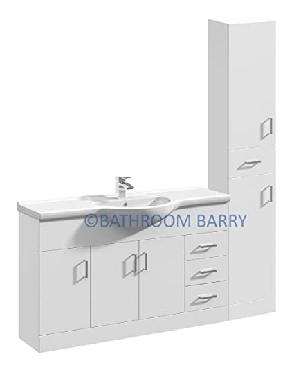 1550mm Modular High Gloss White Bathroom Combination Vanity Basin Sink Cabinet & Three Drawer Cupboard