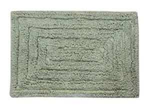 Castle Hill Bath Mat with Spray Latex Backing, Racetrack Design, 24 by 40-Inch, Sage