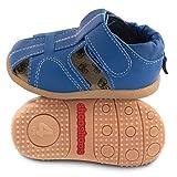 ShooShoos - Zapatitos de piel suela dura, sandalias azul, 20