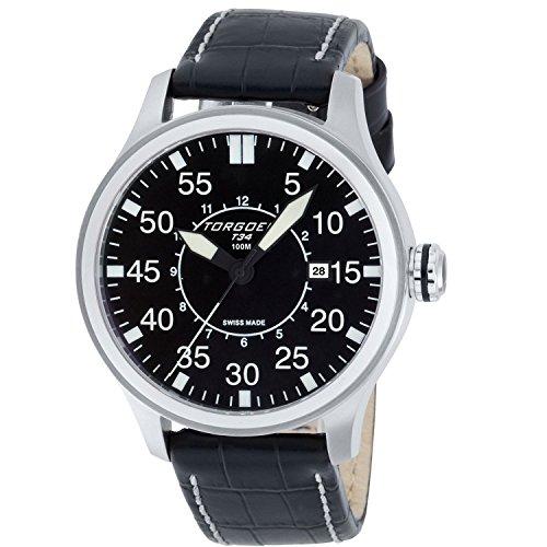 TORGOEN Swiss  T34101 - Reloj de cuarzo para hombre, con correa de cuero, color negro