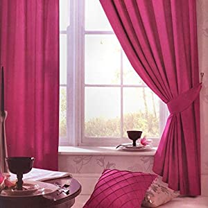 Superb Quality 66x90 Pink Faux Silk Ring Top Fully Lined Curtains *tur* by Curtains