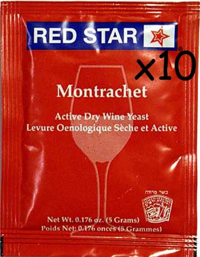 Wine Yeast (10 Packs) Montrachet Red Star for Wine Making