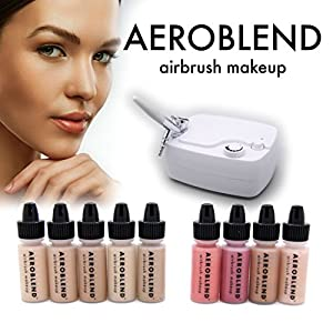 Aeroblend Airbrush Makeup Personal Starter Kit - Professional Cosmetic Airbrush Makeup System - TAN Foundation - Color Match Guarantee - Full 1-Year Warranty