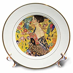 Florene - Famous Art - Print of Klimt Painting Lady With Fan pd-us - 8 inch Porcelain Plate (cp_203694_1)