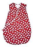 Linden 31510-Jersey Saco de dormir Corazones, 60cm blanco/rojo Talla:90 cm