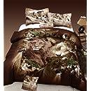 Cozy Beddings Lion 100-Percent Cotton 5-Piece Duvet Cover Set, Reversible with Duvet Insert, Full, Brown