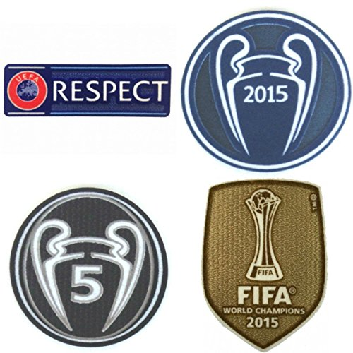 FC Barcelona Patch Set 2015-2016 Soccer Jersey Badges Football Shirt Patches FIFA 2015 Club World Champions, Uefa Champions League Trophy 5 Honor (Fifa World Champions Patch compare prices)