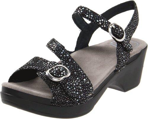 Dansko Women's Sandi Ankle-Strap Sandal,Black Shagreen,38 EU/7.5-8 M US