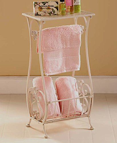White Metal Bathroom Table Stand Toilet Paper Holder Bar Towel Magazine Rack Shabby Chic Decor (Bathroom Table White compare prices)