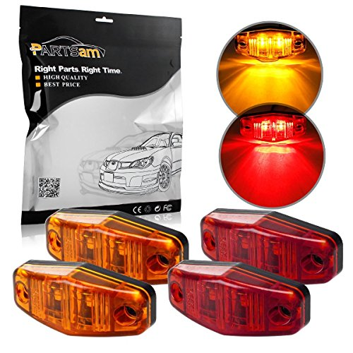 Partsam 4x LED Light Red/Amber Surface Mount Clearance Universal Side Marker Trailer Assembly (Amber Led Side Marker Lights compare prices)