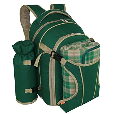 Picnic Backpack Set for 2 in British Racing Green with Picnic Rug by Picnics4fun