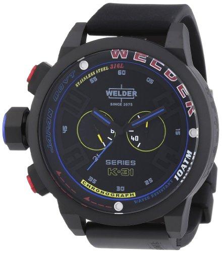 Welder K31 2601 - Reloj cronógrafo de cuarzo unisex con correa de caucho, color negro